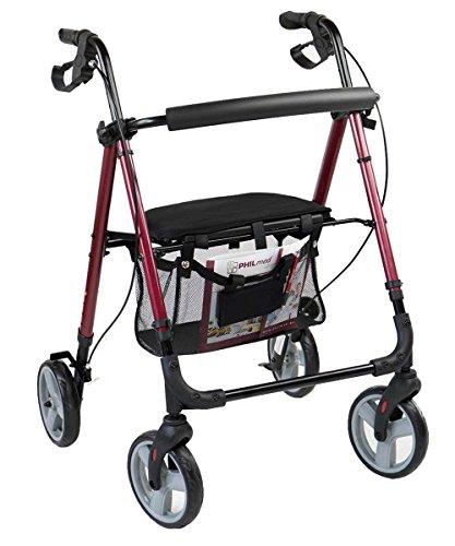Antar Aluminium Leichtgewicht Rollator für Senioren mit abnehmbarer Einkaufstasche, bequemen Sitz mit Rückenlehne und Steighilfe. Der formschöne Rollator ist 4-fach höhenverstellbar, faltbar und bis 130 kg belastbar und damit der ideale Begleiter auf Reisen im Kofferraum und sogar bei Flügen. (Roter Rollator Mit Sitz)