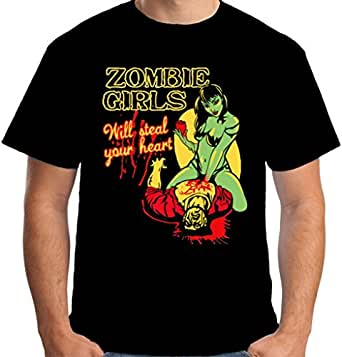 Velocitee Mens T-Shirt Zombie Girls Will Steal Your Heart S3863 S Black