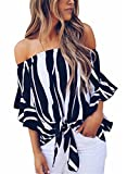 FIYOTE Womens Striped Off Shoulder 3/4 Bell Sleeve Shirt Tie Knot Casual Blouses Tops
