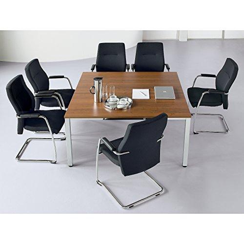 Konferenztisch, quadratisch - HxLxB 720 x 1400 x 1400 mm - Nussbaum-Dekor - Besprechungstisch...