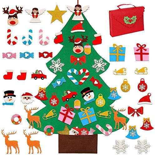 Ourwarm albero di natale in feltro fai da te con 30 pezzi ornamenti glitter, albero di natale feltro grande per bambini regali di natale decorazione per appendere la porta di natale