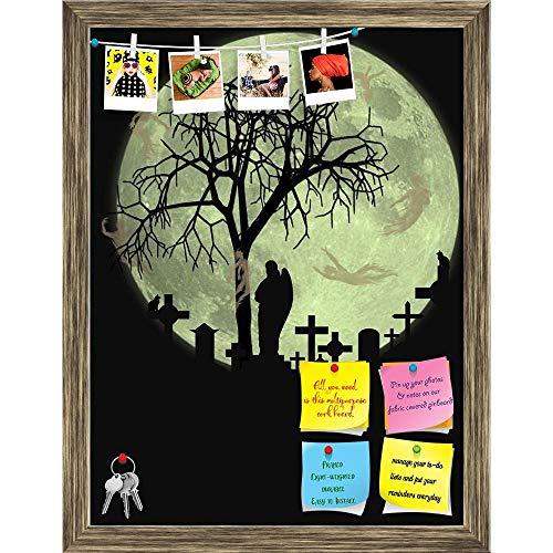 Artzfolio Halloween Scene Printed Bulletin Board Notice Pin Board | Antique Golden Frame 16 X 21Inch (Ag Halloween Gold)