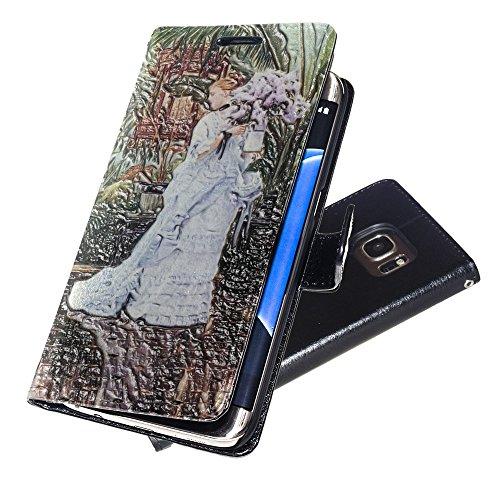 Tissot - The Elder Strauss, Negro Funda de Piel Cuero Case Magnética con Función de Soporte Carcasa con Diseño Texturado para Samsung Galaxy S7 Edge