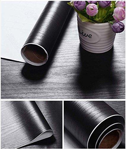 Glow4u Bois Noir texturé Grain Contact papier Vinyle autocollant étagère Doublure de tiroir couvrant pour armoires de cuisine étagères Table Plan de travail 39,9x 497,8cm