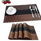 Fontic 6er Set Platzsets 30x45cm Platzdeckchen Rutschfest Abwaschbar Tischmatten PVC Abgrifffeste Hitzebeständig Tischsets, Platz-Matten für küche
