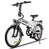 ANCHEER Elektrofahrrad Faltbares E-Bike, Klapprad mit 250W Hochgeschwindigkeits-Bürstenlose Motor, 36V Große Kapazität Lithium-Akku und Shimano Zahnrad Schwarz (14 inch/ 20 inch/26 inch) (20'' weiß + faltbar)