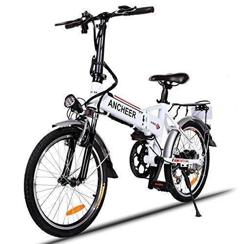 """Ancheer Vélo Eectrique Pliable 20"""" VTT E-Vélo 36V 250W Grande Capacité Pedelec avec Batterie au Lithium et Chargeur Blanc"""