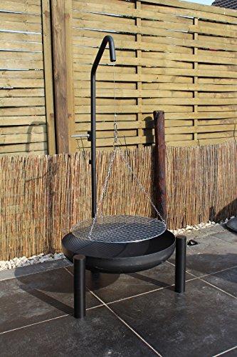 Hero Schwenkgrill mit Grillgalgen und Kurbel 60 cm Feuerschale und 50 cm Grillrost aus Edelstahl