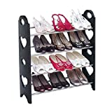 Inovera Free Standing 4 Tier Black Stackable Shoe Rack