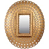 Meher Creation Golden Color Round Peacock Shape Wooden Hand Carved Wall Mirror/Makeup Mirror/Decorative Wall Mirror (Size :- 42 X 32 X 12 Inches)