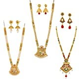 Apara Multicolour Long Haram Mala Combo Set with Kundan Pearl for Women