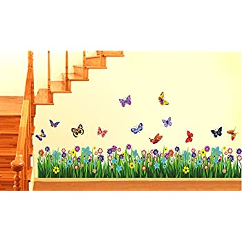 Decals Design StickersKart Wall Stickers Walking in the Garden Flower Border Design (Multicolor)