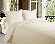 Story @ Home Forever XL 300 TC Superior 100% Cotton Solid Satin Plain Double King Size Bedsheet with 2 Pillow Covers for Bed