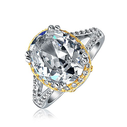 Two Tone CZ Vintage Style Oval Shaped Engagement Ring 5ct Rhodium Plated 5 Carat Cz Engagement Ring