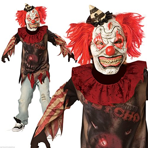 Psycho-Killer Clown Sideshow-Halloween-Kostüm (12-14 Jahre) (Psycho Clown Kostüm Kinder)