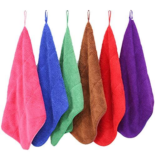 Ounona 6pcs asilo mano asciugamano in microfibra peluche appeso wipe fast dry dish waschlappen