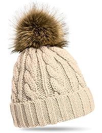 CASPAR MU104 Bonnet fourré hiver pour femme - bonnet tricoté avec torsades  et gros pompon en 681f2e75ce3