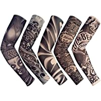 Temporary Fake Slip On Tattoo Arm Sleeve Cycling Basketball Sun Block Sleevelet for Men and Women (Unisex Dark Set, Pack of 5)