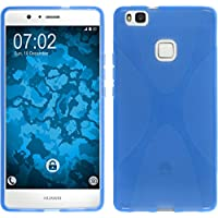 PhoneNatic Case für Huawei P9 Lite Hülle Silikon blau X-Style + 2 Schutzfolien