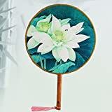 Ventilador de masa única Ventilador de palacio de estilo chino Mango de madera femenino Ventilador Hanfu Ventilador de rendimiento Danza antigua Toma de fotografías Ventilador redondo ( Color : Pattern 3 )