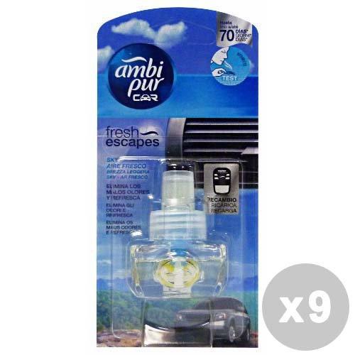 Ambi Pur Set 9 Ricarica brezza Leggera Deodorante Auto - Articoli per Auto