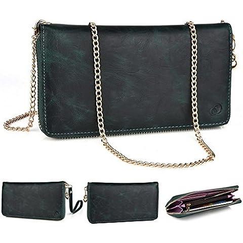 'Kroo embrague cartera de cocodrilo Mensajero Crossbody y carcasa de goma para BLU Win JR/música Dash JR verde verde oscuro