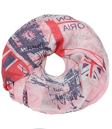 caripe Loop-Schal Städte-Print Paris London New York Berlin Schlauchschal Damen Herren Halstuch Mode-Accessoire Geschenk – sh2 (UK-Batik - pink)