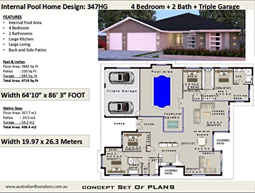 4 Bedroom House Plan with Internal Pool and Triple Garage ...