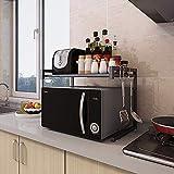 ZPEM Mensola per Forno a Microonde, Mensola da Cucina, Kitchen Scaffale per Ripiano con Ripiano Allungabile 2 Mensole