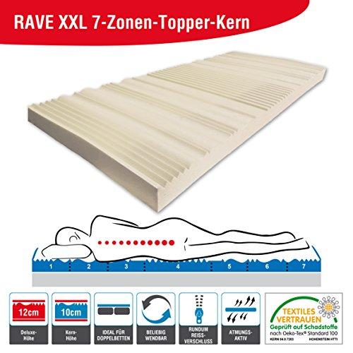 ARBD Kaltschaumkern für Topper - 5cm - XL 8cm - Wave XL 8cm - Rave XXL 10cm - Duo XXL 10cm (H3 Rave XXL - 10cm, 180x200)