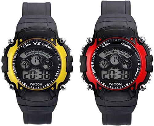 Swadesi Stuff Sky yellow & red Color 7 Light Kinds watch for Boys & Girls