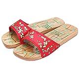 Black Temptation Gesunde Anti-Rutsch-Massage Holzpantoletten Schuhe Flache Heels - Red Plum Bloss