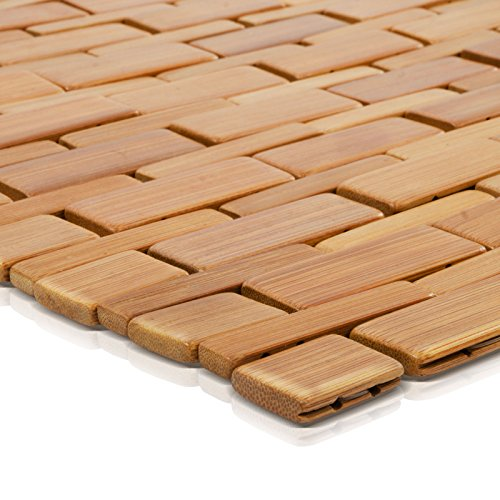 casa pura Bambusmatte Mia | Badematte & Saunamatte aus Bambus | 60x90cm | zwei Farben (Naturfarben)