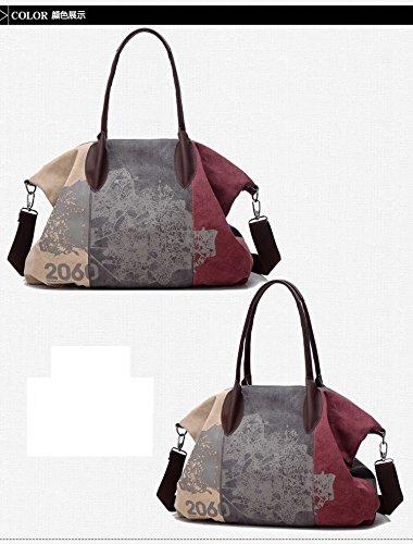 Borsa A Tracolla Vintage Vadooll Da Donna Borsa A Spalla Retro In Tela Multicolore 32cmx43cmx16cm Rosso Rosso