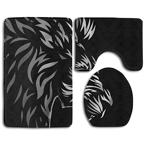Zengyan Trolly Owl Bathroom Rug Mats Set 3 Piece - Extra Soft Non Slip Absorption Shower Bath Rug Contour Mat and Lid Cover - Perfect Combination of Luxury and Comfort