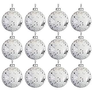 MultiStore 200212Unidades Bolas de Navidad Estrellas Ø8cm, Blanco y Plata, Bolas de Cristal, Decoración de Navidad Bolas De Navidad Bolas