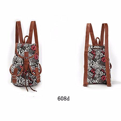 BZLine® Frauen ethnischen drucken Tunnelzug Rucksack Shopping Bag Reisetasche, 25cm×18cm×9cm D