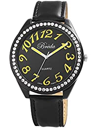 Pulsera de cuero de imitación pulsera reloj Breda reloj negro 100371000020