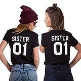 Best Friends Passende T-Shirt für 2 Damen BFF Beste Freundin mit Bestie Aufdruck Zwei Mädchen Sommer Tops 2 Stücke (Schwarz4, Sister-01-S+01-S)