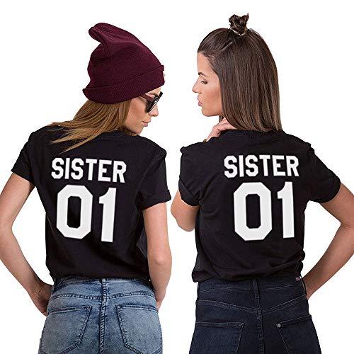 Beste Freunde Best Friends Shirts für Zwei Mädchen Tshirt mit Aufdruck Sister Damen Tops Frau Oberteil Sommer Kurzarm 2 Stücke (Schwarz1, Sister-S+M)