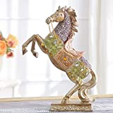 YUN Statua del Cavallo in Piedi - Scultura di Ping Ma - Statua del Cavallo for Il Regalo dell'ufficio della Cucina di casa - Argento (Color : D)