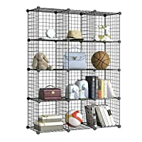 BRIAN & DANY 12-Cube Wire Storage Cubes, Larger Cubes (35cm vs. 30cm), DIY Wire Grid Bookcase, Multi-Use Modular Storage Shelving Rack, Black