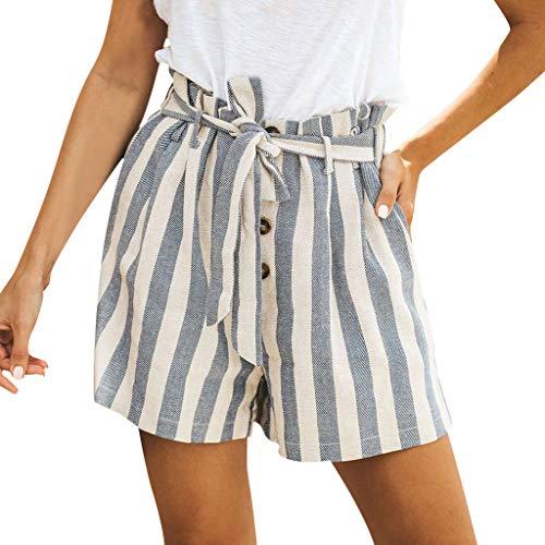 MOTOCO Damen Sommer Casual Streifen gedruckt Shorts Knopf Krawatte Baumwolle und Leinen lose Vintage Straight Shorts(L(40),Grau) - Oshkosh Cord-overalls