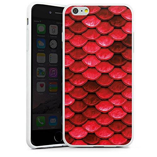 Apple iPhone 5c Silikon Hülle Case Schutzhülle Rote Schuppen Drache Muster Silikon Case weiß