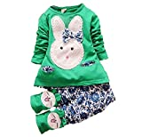 Green bunny top and blue bottom set (3-4 Years)