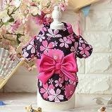 WWUUOOPRT Cute and Attractive Pet Clothing Japanese Sakura Kimono Cat Dog Clothes Black S