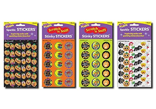 Halloween-Aufkleber, verschiedene Farben, 264 Sticker, Duft und Glitzer, inkl. Trick or Treat & Kürbis-Designs -