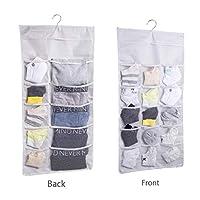 Encozy Dual Sided Wall Shelf Wardrobe Organizers Storage Bags,Closet Hanging Organizer with 30 Mesh Pockets,for Bra Underwear Underpants Shoes Sock Stocking (Beige)