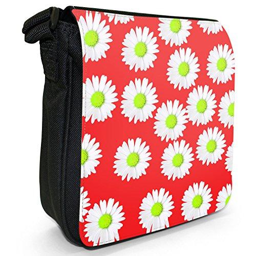 Dainty margherite-Borsa a tracolla in tela, piccola, colore: nero, taglia: S Nero (Red Dainty Daisies)