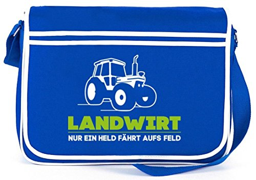 Landwirt Trecker, Traktor Bauer Retro Messenger Bag Kuriertasche Umhängetasche Royal Blau